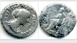 FAUSTINA II Denarius RIC 502a, Concordia