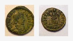 THEODOSIUS I AE4, RIC 39b, Victory