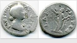 FAUSTINA II Denarius RIC 702v, Laetitia