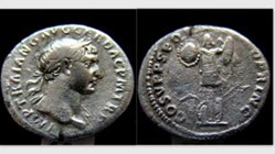 TRAJAN Denarius, RIC 147, Trophy of Arms