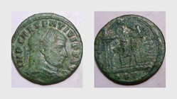 MAXENTIUS Follis, RIC 210, Temple