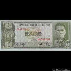 BOLIVIE - P 154 A (17) - 10 PESOS BOLIVI...