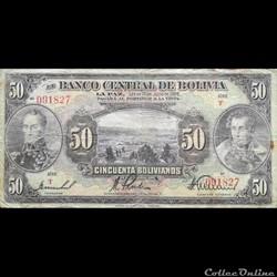 BOLIVIE - P 124 A (2) - 50 BOLIVIANOS - ...