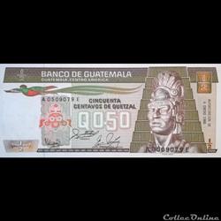 GUATEMALA - P 65 (07)  - 0,50 CENTAVOS DE QUETZAL - 1988