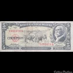CUBA - P 091 A - 5 PESOS - 1958