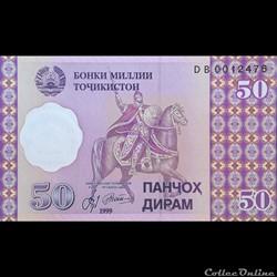 TADJIKISTAN - P 13 - 50 DIRAM - 1999