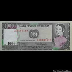 BOLIVIE - P 167 A (2) - 1000 PESOS BOLIV...