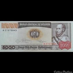 BOLIVIE - P 168 A (1) - 5000 PESOS BOLIV...