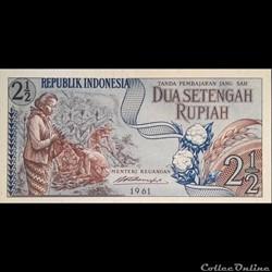 INDONESIE - P 79 - 2 1/2 RUPIAH - 1961