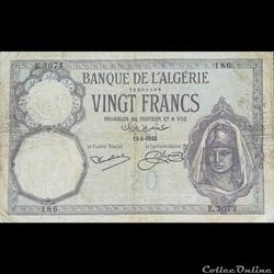 ALGERIE - P 78 - 20 FRANCS - 1932
