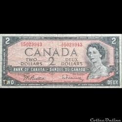 CANADA - P 075 B - 2 DOLLARS - 1954
