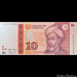 TADJIKISTAN - P 16 - 10 SOMONI - 1999