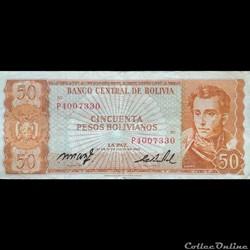 BOLIVIE - P 162 A (19) - 50 PESOS BOLIVI...