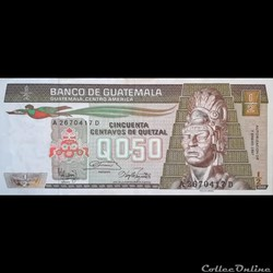 GUATEMALA - P 65 (05)  - 0,50 CENTAVOS DE QUETZAL - 1987