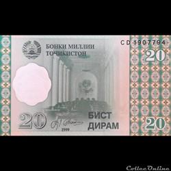 TADJIKISTAN - P 12 - 20 DIRAM - 1999