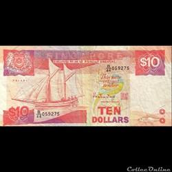 SINGAPOUR - P 20 - 10 DOLLARS - 1988