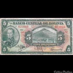 BOLIVIE - P 120 A (3) - 5 BOLIVIANOS - 1...