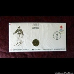 ALBERTVILLE 92 - Enveloppe avec medaille.