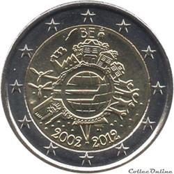 Belgique - 2012 : 10e anniversaire de l'introduction des billets et des pièces en euro