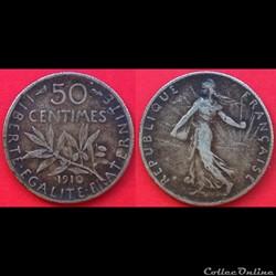 50 centimes Semeuse argent