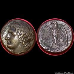 """Bronze """"Hemilitron"""" sicilien d'Hiketas p..."""