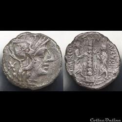 Crawford 243/1, TI.MINVCI C.F. AVGURINI (T. Minucius C. f. Augurinus) Denar, 134, Rom