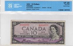 billets de 10 dollars 1954