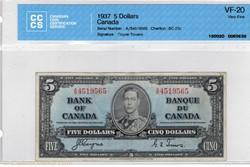 billet de 5 dollars 1937