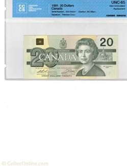 Billet de 20 dollars 1991
