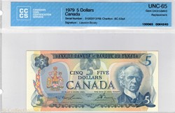 billet de 5 dollars 1979