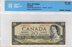 Billet de 20 dollars 1954