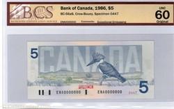 billet de 5 dollars 1986