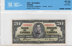 billet de 20 dollars 1937