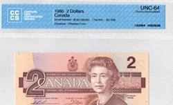 billets de 2 dollars 1986