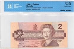 billet de 2 dollars 1986