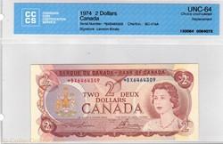 billet de 2 dollars 1974 BC-47 aA
