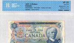 billets de 5 dollars 1972