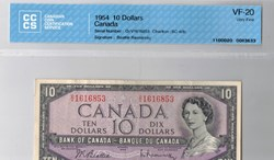 billet de 10dollars 1954