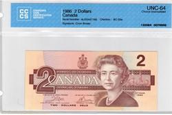 billet de 2 dollar 1986