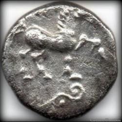 monnaie antique gauloise serie 83 dt 647 quinaire cvpinacios vlatos au pentacle