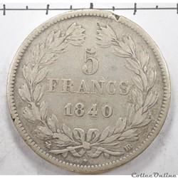 5FrancLouis Philippe Tete Laurée 1840