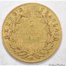5francNapoleon III tete Laurée 1867