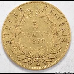 5francNapoleon III tete nue 1858