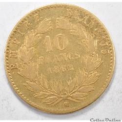 10francNapoleon III tete Laurée 1862