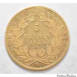 5francNapoleon III tete nue 1860