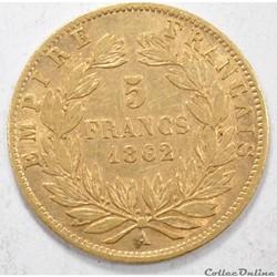 5francNapoleon III tete Laurée 1862