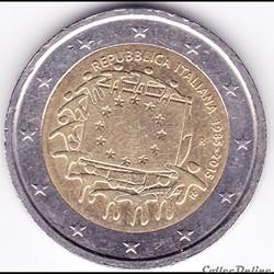 Pièce 2€. 30e anniversaire du drapeau européen, pièce italienne