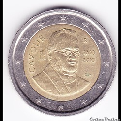 Pièce 2€. 200e anniversaire naissance Camillo Benso, comte de Cavour