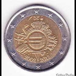 Pièce 2 euros. 10e anniversaire de l'introduction des billets et pièces en euro