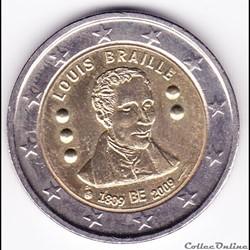 Pièce 2 euros/ 200e anniversaire de la naissance de l'inventeur français Louis Braille
